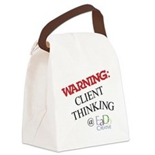 WARNING: CLIENT THINKING Canvas Lunch Bag
