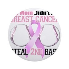 Mom Didnt Let Breast Cancer Steal 2 Round Ornament