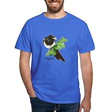 Curious watercolor Magpie Bird Nature Art T-Shirt