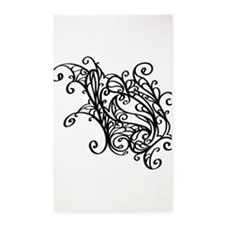 Black Swirly Lace 3'x5' Area Rug