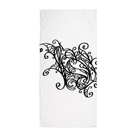 Black Swirly Lace Beach Towel