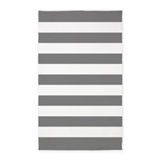 Charcoal Gray And White Stripes 3'X5' Area Rug