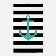 Black And Teal Anchor Stripe 3'X5' Area Rug