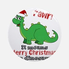 Dinosaur Christmas Round Ornament