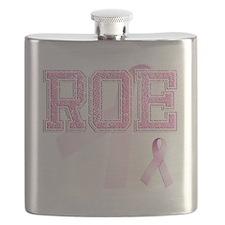 ROE initials, Pink Ribbon, Flask