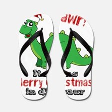 Dinosaur Christmas Flip Flops