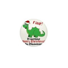 Dinosaur Christmas Mini Button