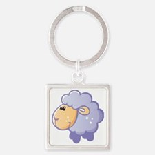 Purple Sheep Square Keychain
