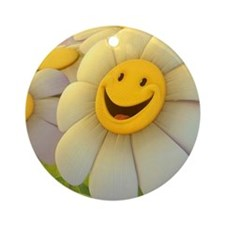 Smiling Daisy Round Ornament