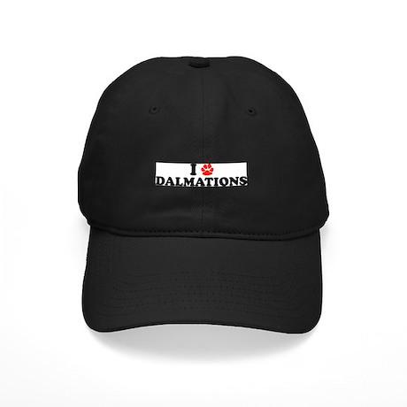 I Heart (Pawprint) Dalmations Black Cap