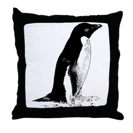 Penguin Sketch Throw Pillow