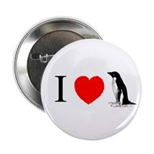 I Heart Penguins Button