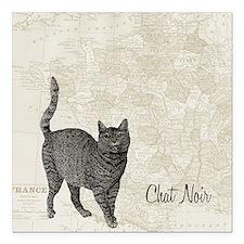 "md chat noir cat map Square Car Magnet 3"" x 3"""