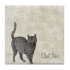 md chat noir cat map Tile Coaster