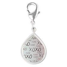 md heart xoxo mixed Silver Teardrop Charm