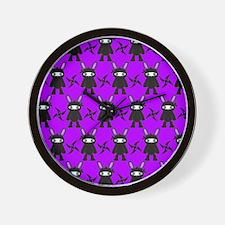 Purple and Black Ninja Bunny Pattern Wall Clock