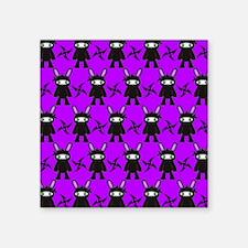 "Purple and Black Ninja Bunn Square Sticker 3"" x 3"""