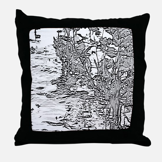 Flowing Silver Throw Pillow