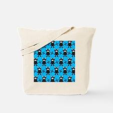 Turquoise and Black Ninja Bunny Pattern Tote Bag