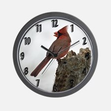 Male Red Cardinal Wall Clock