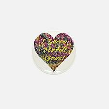 I Love Mardi Gras! Bead Heart Mini Button