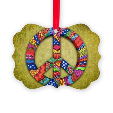 Peace Sign Note Card Picture Ornament