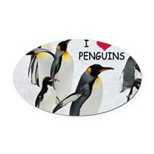 Love the Penguins Oval Car Magnet