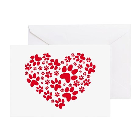 red heart with paws, animal foodprin Greeting Card