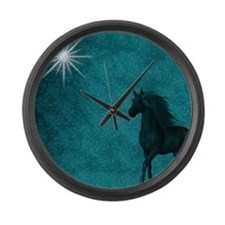 md horse twilight Large Wall Clock