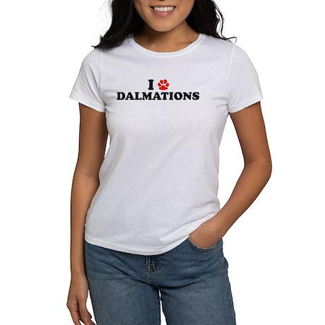 I Heart (Pawprint) Dalmations Women's T-Shirt