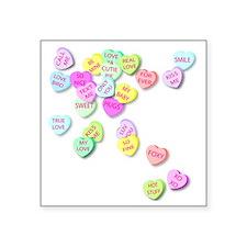 "Conversation Hearts T Shirt Square Sticker 3"" x 3"""