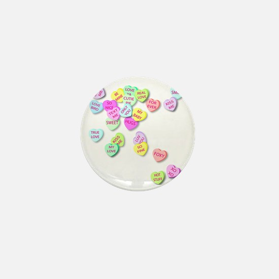 Conversation Hearts T Shirt Mini Button