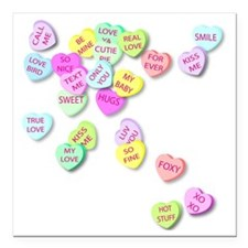 "Conversation Hearts T Sh Square Car Magnet 3"" x 3"""