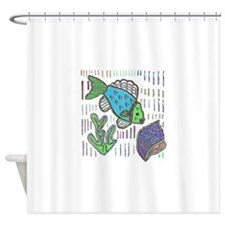 FISH AND SEASHELL MOLA DESIGN Shower Curtain
