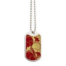 Red/Gold Flowers Dog Tags