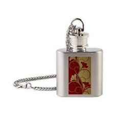 Red/Gold Flowers Flask Necklace