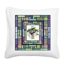 Stained Glass Cross Square Canvas Pillow