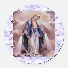 Ave Maria Round Car Magnet