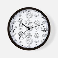 Black and white renewal toile Wall Clock