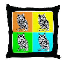 Owl In Color dark Throw Pillow