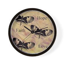 hope faith love Wall Clock
