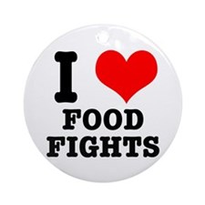 I Heart (Love) Food Fights Ornament (Round)