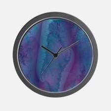blue and purple shower curtain Wall Clock