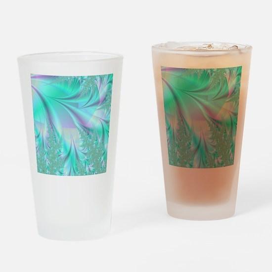 Aqua shower curtain Drinking Glass