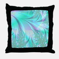 Aqua shower curtain Throw Pillow