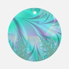 Aqua shower curtain Round Ornament