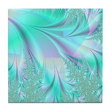 Aqua shower curtain Tile Coaster
