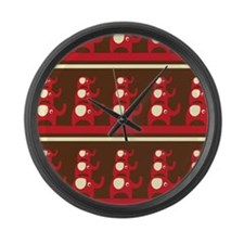 Red Elephants Large Wall Clock