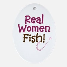 Real Women Fish Oval Ornament