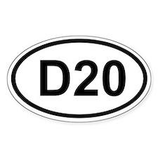 D20 Oval Bumper Stickers